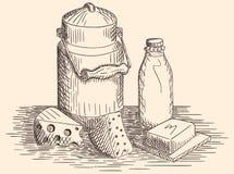 Нарисованные рукой молочные продучты и молоко Стоковое Фото