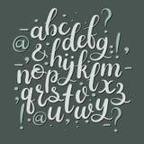 Нарисованные рукой письма щетки Современный шрифт каллиграфии Алфавит литерности руки Стоковая Фотография