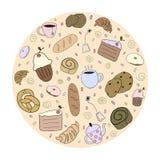 Нарисованные рукой продукты хлебопекарни Стоковое Изображение RF