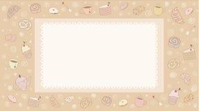Нарисованные рукой продукты хлебопекарни Стоковое фото RF