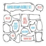 Нарисованные рукой пузыри речи doodle установили с акцентировкой иллюстрация вектора