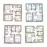 Нарисованные рукой планы дома Стоковое Изображение RF