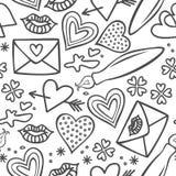 Нарисованные рукой серые doodles влюбленности на белизне Стоковые Изображения RF