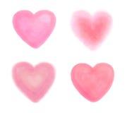 Нарисованные рукой сердца акварели на комплекте белизны Стоковое Фото