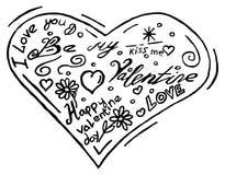 Нарисованные рукой сердца doodle на белой предпосылке Стоковые Изображения
