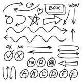 Нарисованные рукой стрелки вектора установили на белую предпосылку Элементы дизайна Doodle infographic Иллюстрация вектора