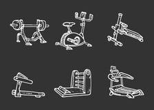 Нарисованные рукой тренируя установленные doodles прибора Значки стиля эскиза d иллюстрация вектора