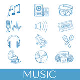 Нарисованные рукой установленные значки музыки Стоковые Изображения