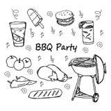 Нарисованные рукой установленные значки партии BBQ doodle Стоковое фото RF
