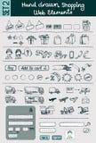 Нарисованные рукой установленные значки покупок & коммерции Стоковые Изображения RF
