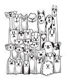 Нарисованные рукой установленные собаки doodle смешные Стоковое Изображение RF