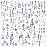Нарисованные рукой установленные стрелки Doodle Стоковые Фотографии RF