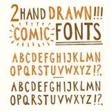 Нарисованные рукой установленные шрифты вектора Стоковые Изображения RF
