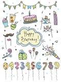 Нарисованные рукой установленные элементы дня рождения Торты, воздушные шары, праздничные атрибуты Дизайн Scrapbook бесплатная иллюстрация