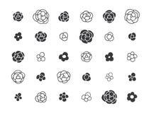 Нарисованные рукой флористические декоративные элементы дизайна Стоковое Изображение RF