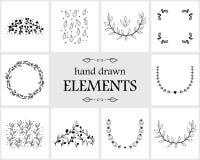 Нарисованные рукой флористические элементы и значки логотипа Стоковые Изображения