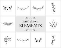 Нарисованные рукой флористические элементы и значки логотипа Стоковое Изображение RF