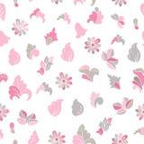 Нарисованные рукой цветки doodle шаржа Camomiles и бутоны флористическая картина безшовная Фасонируйте стиль для ткани печатей, б Стоковое Фото