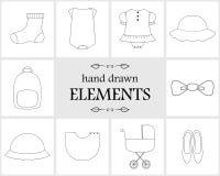 Нарисованные рукой элементы и значки логотипа Стоковые Фото