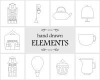 Нарисованные рукой элементы и значки логотипа Стоковые Изображения