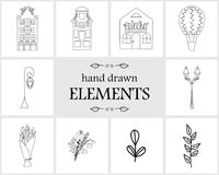Нарисованные рукой элементы и значки логотипа Стоковые Фотографии RF
