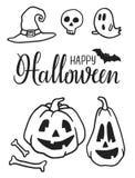 Нарисованные рукой элементы партии хеллоуина Doodles хеллоуина Комплект тыкв хеллоуина, шляпа ведьмы, летучая мышь, призраки, чер иллюстрация штока