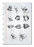 Нарисованные рукой эскизы карандаша Стоковое Изображение