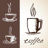 Нарисованные рукой эскизы кофе Стоковая Фотография RF