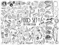 Нарисованные рукой элементы еды Установите для украшения меню шарж Простые стилизованные формы стоковые изображения