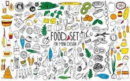 Нарисованные рукой элементы еды Установите для украшения меню шарж Простые стилизованные формы стоковые фотографии rf