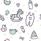 Нарисованные рукой элементы дизайна детского душа Стоковая Фотография RF