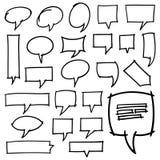 Нарисованные рукой элементы дизайна пузырей речи Стоковое фото RF