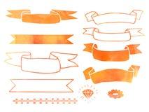 Нарисованные рукой элементы дизайна doodle акварели Стоковые Фотографии RF