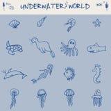 Нарисованные рукой элементы концепции морской жизни значков шлюпки doodle и шлюпки иллюстрации вектора моря установленные Стоковые Изображения