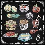 Нарисованные рукой элементы меню ресторана. иллюстрация штока