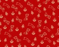 Нарисованные рукой doodles тем рождества, изолированные на красном цвете назад бесплатная иллюстрация