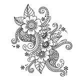 Нарисованный вручную абстрактный орнамент цветка Mehndi хны Стоковое Изображение