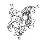 Нарисованный вручную абстрактный орнамент цветка Mehndi хны Стоковое Изображение RF