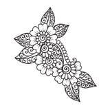 Нарисованный вручную абстрактный орнамент цветка Mehndi хны Стоковое Фото