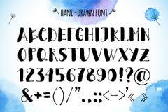 Нарисованный вручную алфавит вектора на акварели Стоковая Фотография
