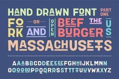 Нарисованный вручную алфавит и шрифт Часть первая бесплатная иллюстрация