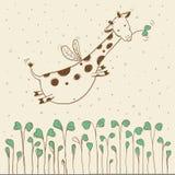 Нарисованный вручную жираф летания Стоковое Изображение RF
