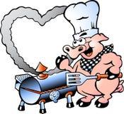 Иллюстрация свиньи шеф-повара делая BBQ Стоковая Фотография