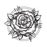 Нарисованный вручную красивый розовый цветок Татуировка ART Картина Графический винтажный состав Изолированная иллюстрация вектор иллюстрация вектора