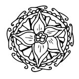 Нарисованный вручную мотив Daffodil Стоковое фото RF