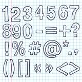 Нарисованный вручную номера Эскиз Doodles иллюстрация вектора