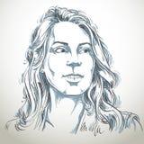 Нарисованный вручную портрет женщины бело-кожи, беды темы эмоций стороны иллюстрация вектора