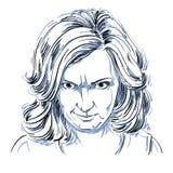 Нарисованный вручную портрет женщины бело-кожи заносчивой с морщинками o иллюстрация штока