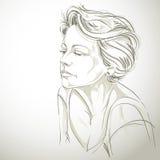 Нарисованный вручную портрет женщины бело-кожи унылой, темы эмоций стороны иллюстрация вектора