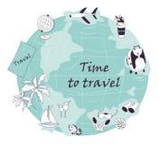 Нарисованный вручную, современный, комплект туриста объектов на лето, каникулы Стоковые Изображения RF